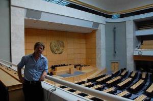 Noam Bedein antes de testificar en la ONU