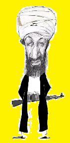 Ben Laden pequeño en fondo anarillo