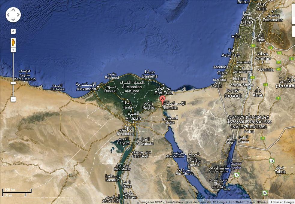Mapa de Ismailia-Egipto