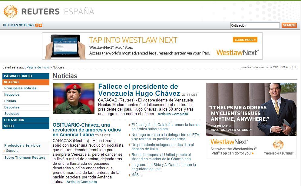 Hugo Chavez muerto por Reuters