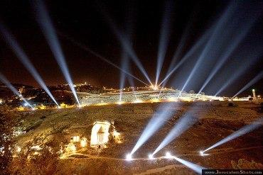 Jerusalem de noche con focos