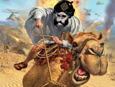 Mahoma corriendo en camello perseguido por helicópteros