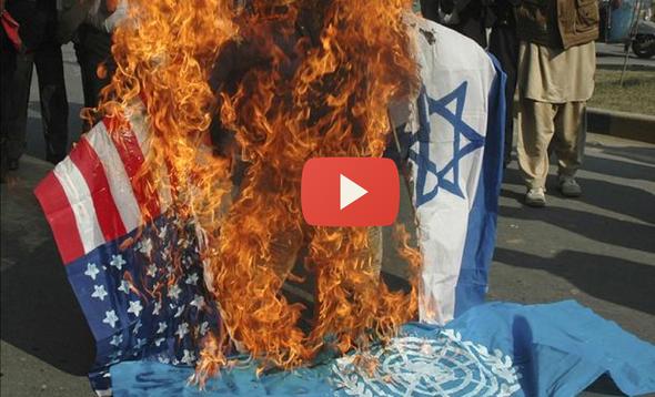Quema de bandeas usa-israel en iran
