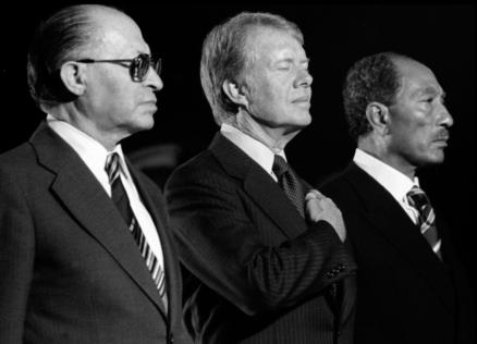 Sadat, Begin y Carter en Camp Davis 1979