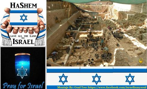 Montaje Israel bandera Pray HaShem Excabación