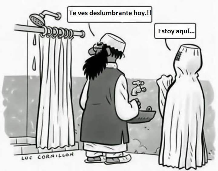 Moro confunde cortina con esposa con burka caricatura