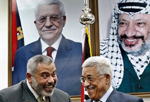 Abu Mazen and Haniyeh leering