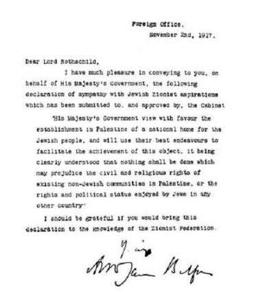 Declaración Balfour de un hogar judío