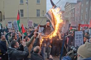 Israeli flag burned during protest