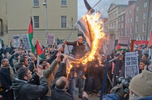 Israeli flag burned during protest
