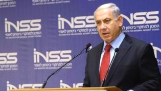 Binyamin Netanyahu interviniendo en el Instituto de Estudios de la Seguridad Nacional.
