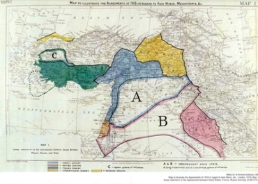 El mapa dividiendo Oriente Próximo que acompaña al acuerdo Sykes-Picot de 1916.