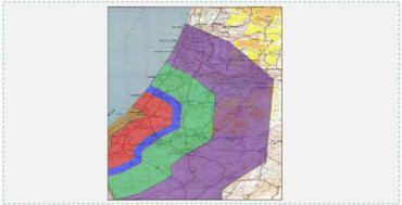 """El alcance de los cohetes lanzados durante la operación Pilar defensivo. Rojo – morteros de distintos tipos; azul – cohetes improvisados; verde – cohetes de 122 mm; púrpura – cohetes iraníes Fajr 5 y cohetes 8"""" de su propia fabricación (M75)"""