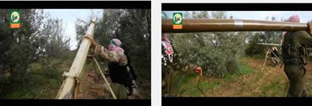Estación de operativos de Hamas, cohetes de 122 mm siendo preparados para su lanzamiento (YouTube, 13 de diciembre de 2012).[5]