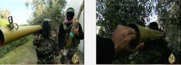 Terroristas de Hamas muestran el cohete PG-29 y su lanzador (Al-Yazira, 28 de febrero de 2009)