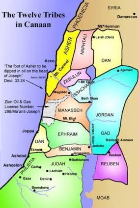 Mapa de las 12 tribus