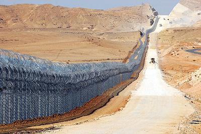 Una parte de la barrera israelí que discurre a lo largo de su frontera con Egipto.