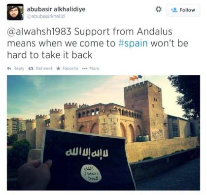 Musulmanes en España han lanzado una campaña en medios de comunicación social destinada a generar apoyo para el grupo jihadista Estado Islámico [EI] abubasir alkhalidiye