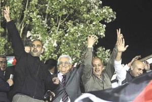 Líder de Fatah, Abbas celebra con los terroristas palestinos liberados. Foto Issam Rimawi FLASH90