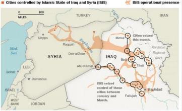 mapa del isis el irak