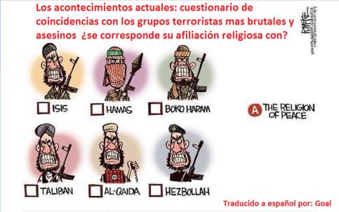 Viñeta grupos terroristas todos son musulmanes