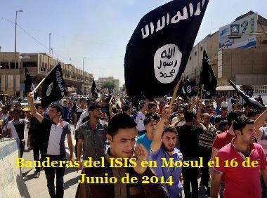 Banderas del ISIS en Mosul el 16 de Junio de 2014