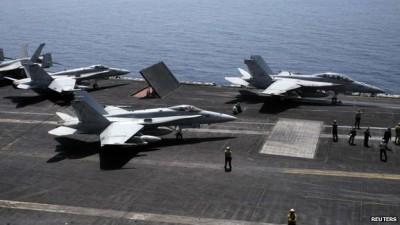 Fighters se han despegando desde el USS George HW Bush en el Golfo de misión en Irak