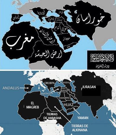 Arriba Dawlat al-Jilafa El Estado Islámico O el mundo según el ISIS utilizando nomenclatura geográfica árabe medieval  Abajo El mismo mapa en codificación romana.