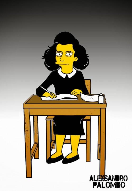 Anne Frank Simpsonized The Simpsons  Auschwitz Birkenau 70th anniversary Antisemitism Holocaust Shoah Nazism Racism Israel Jewish Jews Homer Marge Simspon Lisa Bart Contemporary Art Artist aleXsandro