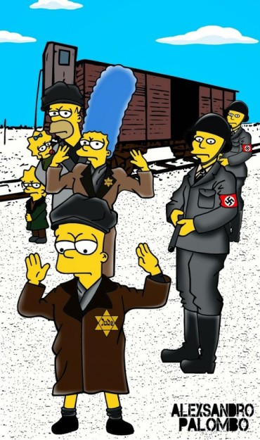 Anne Frank Simpsonized The Simpsons  Auschwitz Birkenau 70th anniversary Antisemitism Holocaust Shoah Nazism Racism Israel Jewish Jews Homer Marge Simspon Lisa Bart Contemporary Art Artist aleXsan (1)