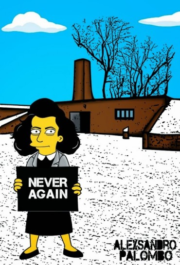 Anne Frank Simpsonized The Simpsons  Auschwitz Birkenau 70th anniversary Antisemitism Holocaust Shoah Nazism Racism Israel Jewish Jews Homer Marge Simspon Lisa Bart Contemporary Art Artist aleXsa (10)
