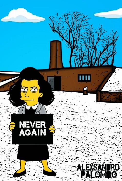 Anne Frank Simpsonized The Simpsons  Auschwitz Birkenau 70th anniversary Antisemitism Holocaust Shoah Nazism Racism Israel Jewish Jews Homer Marge Simspon Lisa Bart Contemporary Art Artist aleXsa (10)