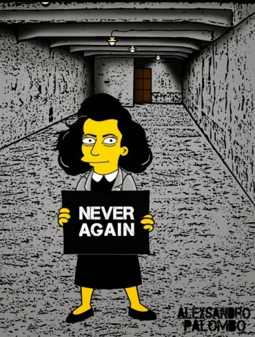 Anne Frank Simpsonized The Simpsons  Auschwitz Birkenau 70th anniversary Antisemitism Holocaust Shoah Nazism Racism Israel Jewish Jews Homer Marge Simspon Lisa Bart Contemporary Art Artist aleXsa (12)