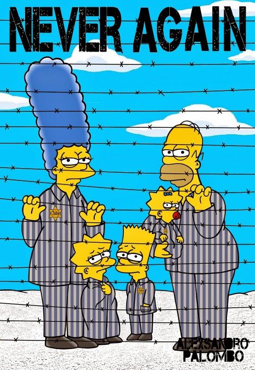 Anne Frank Simpsonized The Simpsons  Auschwitz Birkenau 70th anniversary Antisemitism Holocaust Shoah Nazism Racism Israel Jewish Jews Homer Marge Simspon Lisa Bart Contemporary Art Artist aleXsa (13)