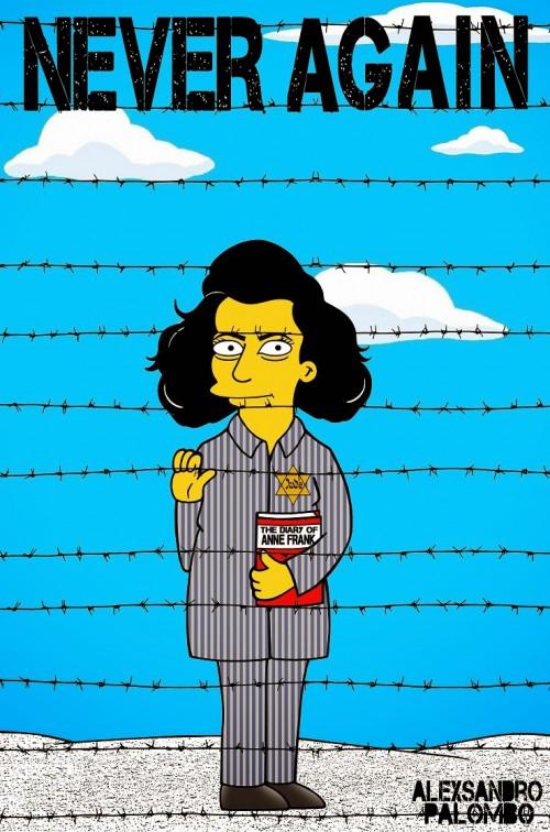 Anne Frank Simpsonized The Simpsons  Auschwitz Birkenau 70th anniversary Antisemitism Holocaust Shoah Nazism Racism Israel Jewish Jews Homer Marge Simspon Lisa Bart Contemporary Art Artist aleXsa (14)