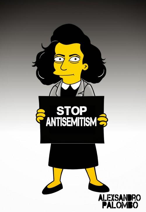Anne Frank Simpsonized The Simpsons  Auschwitz Birkenau 70th anniversary Antisemitism Holocaust Shoah Nazism Racism Israel Jewish Jews Homer Marge Simspon Lisa Bart Contemporary Art Artist aleXsa (15)
