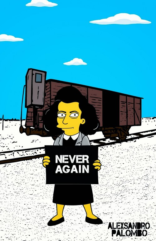 Anne Frank Simpsonized The Simpsons  Auschwitz Birkenau 70th anniversary Antisemitism Holocaust Shoah Nazism Racism Israel Jewish Jews Homer Marge Simspon Lisa Bart Contemporary Art Artist aleXsan (2)
