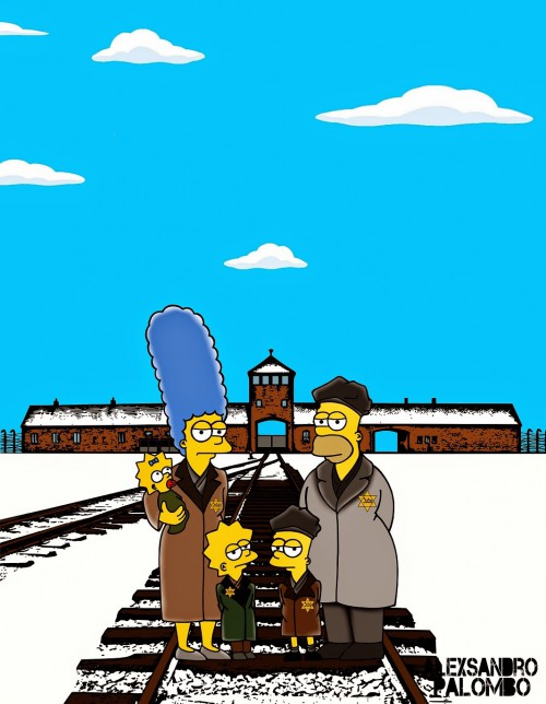 Anne Frank Simpsonized The Simpsons  Auschwitz Birkenau 70th anniversary Antisemitism Holocaust Shoah Nazism Racism Israel Jewish Jews Homer Marge Simspon Lisa Bart Contemporary Art Artist aleXsan (3)