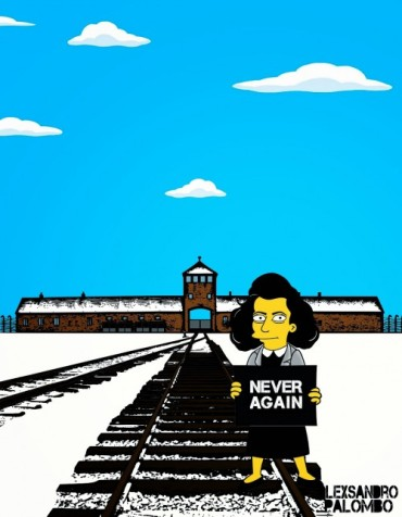 Anne Frank Simpsonized The Simpsons  Auschwitz Birkenau 70th anniversary Antisemitism Holocaust Shoah Nazism Racism Israel Jewish Jews Homer Marge Simspon Lisa Bart Contemporary Art Artist aleXsan (4)