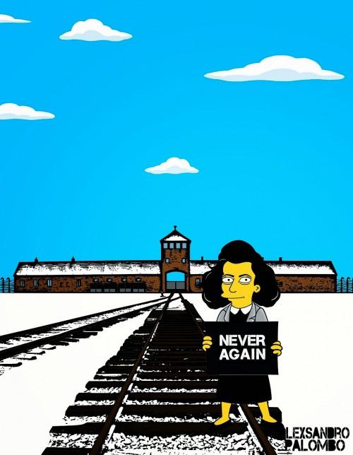 Anne Frank Simpsonized The Simpsons  Auschwitz Birkenau 70th anniversary Antisemitism Holocaust Shoah Nazism Racism Israel Jewish Jews Homer Marge Simspon Lisa Bart Contemporary Art Artist aleXsan (4)