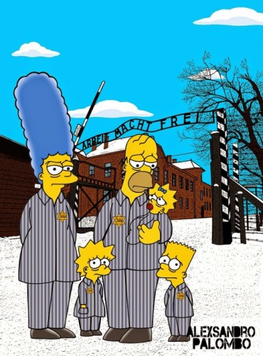 Anne Frank Simpsonized The Simpsons  Auschwitz Birkenau 70th anniversary Antisemitism Holocaust Shoah Nazism Racism Israel Jewish Jews Homer Marge Simspon Lisa Bart Contemporary Art Artist aleXsan (5)