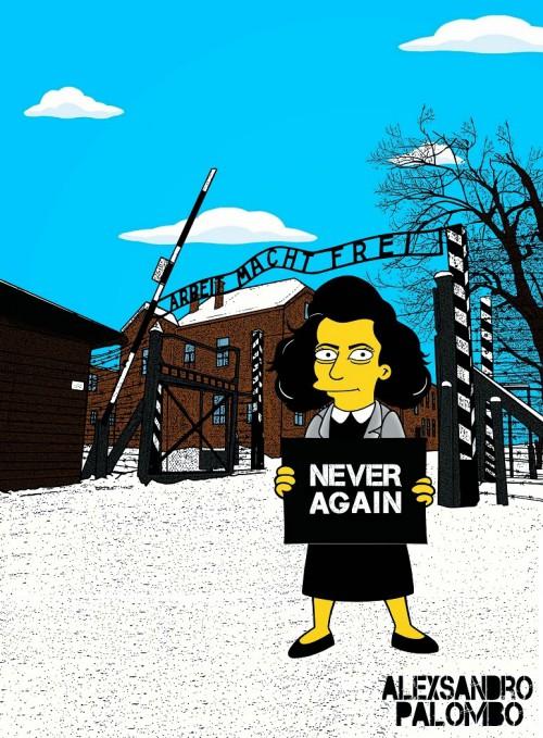 Anne Frank Simpsonized The Simpsons  Auschwitz Birkenau 70th anniversary Antisemitism Holocaust Shoah Nazism Racism Israel Jewish Jews Homer Marge Simspon Lisa Bart Contemporary Art Artist aleXsan (6)