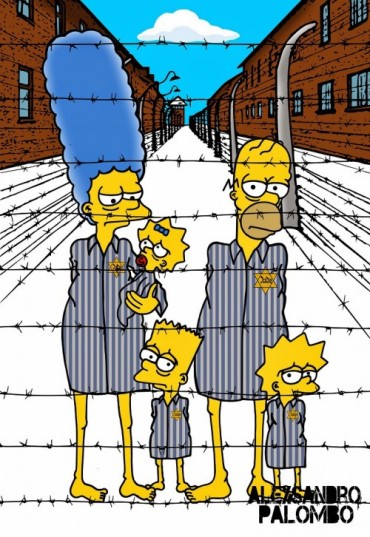 Anne Frank Simpsonized The Simpsons  Auschwitz Birkenau 70th anniversary Antisemitism Holocaust Shoah Nazism Racism Israel Jewish Jews Homer Marge Simspon Lisa Bart Contemporary Art Artist aleXsan (7)