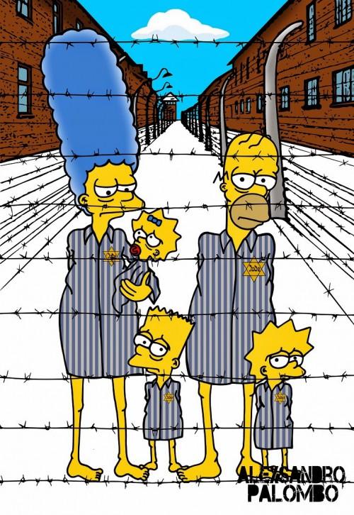Anne Frank Simpsonized The Simpsons  Auschwitz Birkenau 70th anniversary Antisemitism Holocaust Shoah Nazism Racism Israel Jewish Jews Homer Marge Simspon Lisa Bart Contemporary Art Artist aleXsan (7)
