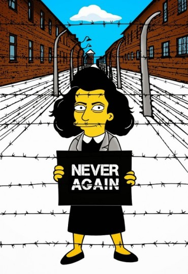 Anne Frank Simpsonized The Simpsons  Auschwitz Birkenau 70th anniversary Antisemitism Holocaust Shoah Nazism Racism Israel Jewish Jews Homer Marge Simspon Lisa Bart Contemporary Art Artist aleXsan (8)