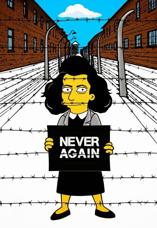 Anne Frank Simpsonized The Simpsons  Auschwitz Birkenau 70th anniversary Antisemitism Holocaust Shoah Nazism Racism Israel Jewish Jews Homer Marge Simspon Lisa Bart Contemporary Art Artist aleXsan (8)
