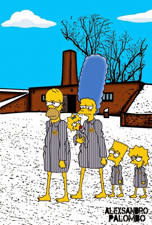 Anne Frank Simpsonized The Simpsons  Auschwitz Birkenau 70th anniversary Antisemitism Holocaust Shoah Nazism Racism Israel Jewish Jews Homer Marge Simspon Lisa Bart Contemporary Art Artist aleXsan (9)