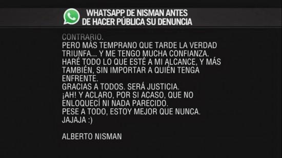 whatsapp del fiscal Alberto Nisman