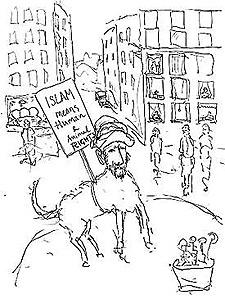 La caricatura del pedofilo perruno Mahoma por Vilks