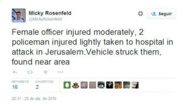 Ataque contra tres polis en Jerusalem este